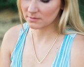 Deep V Necklace triangle chevron gold filled brass hammered necklace minimal rustic modern statement choker adjustable