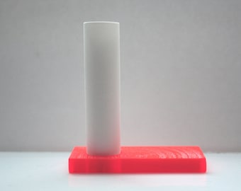 Mini tube vase made out of stoneware English fine bone china and an orange acrylic base - bud vase