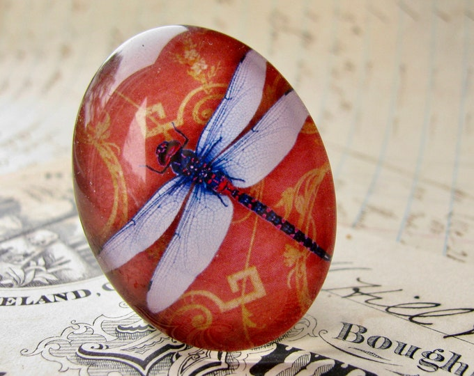 Red dragonfly cabochon, 40x30mm or 25x18mm handmade cabochon, glass oval cabochon, artisan crafted in this shop, Winged Wonder collection