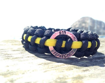 Thin Gold Line Paracord 911 Dispatcher Bracelet or Key Chain