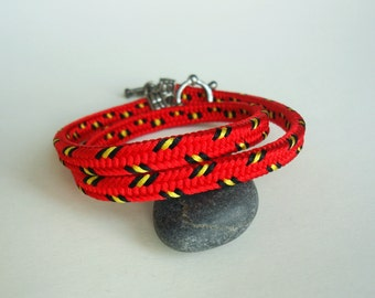 Braided kumihimo bracelet Colorful red bracelet Friendship bracelet  Bracelets for women Gift for girlfriend Wife red jewelry Red boho gift