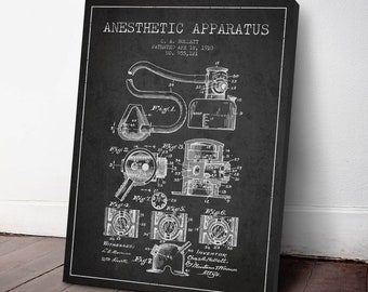 1910 Anesthetic Apparatus Patent Canvas Print, Anesthetic Machine, Medical Patent, Wall Art, Home Decor, Gift Idea, ME82C