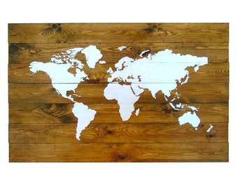 Xxl world map etsy world map xxl 110x70cm 43x27inch wall decoration wooden picture wood pallet boards white map gumiabroncs Image collections