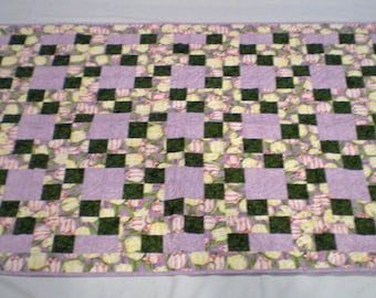 Yellow and Pink Tulip Baby Girl Quilt