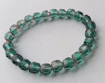 Teal Facetted Vintage German Glass Beads