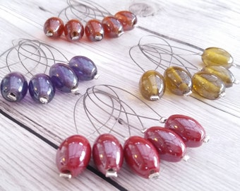 Knitting Stitch Markers, Handmade, Glass Bead Knitting Markers, Made with Recycled Beads, Snag Free, Knitting Accessory, Knitting Gift