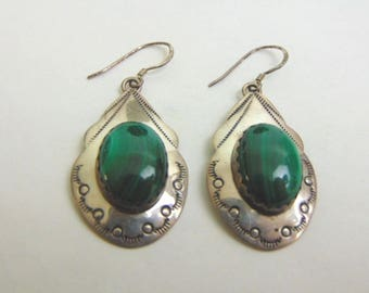 Womens Sterling Silver Malachite Earrings 12.5g E3742