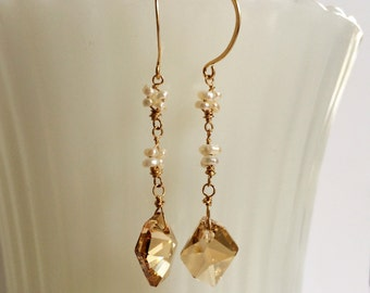 Gold Swarovski Crystal Pearl Flower Earrings Gold Crystal Dangles White Pearl Drops June Birthstone Bride Earring