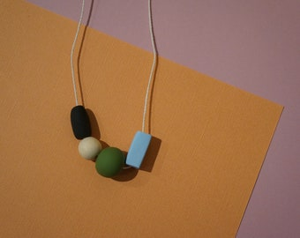 Polymer Clay Geometric Necklace | Natural | Cord | Wood | Black | Green | Blue | Neutral