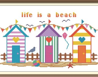Beach Cabins Counted Cross Stitch Pattern PDF Chart Instant Download Bright Colorful Beach Scene in Turquoise, Purple, and Orange