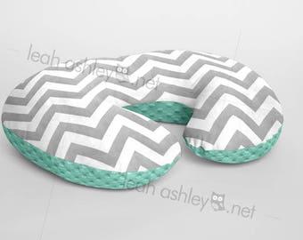 Boppy® Cover, Nursing Pillow Cover - Gray Chevron MINKY with Mint MINKY Dot - BC2