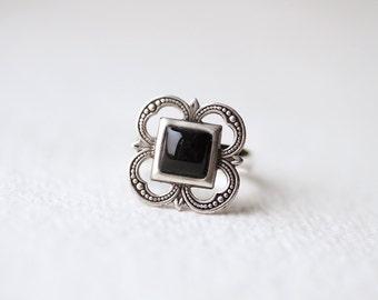 Black Square ring - Filigree Adjustable Ring