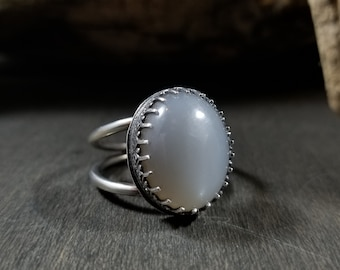 Grey-White Moonstone Sterling Silver Double Band Ring Size 10.25
