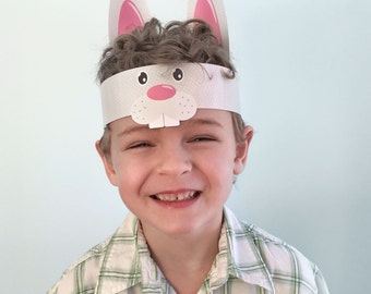INSTANT DOWNLOAD - Hippity Hoppity - Kids Easter Bunny Hat Craft Party Printable