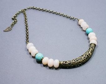 REDUCED 40% - SALE - Peach Turquoise Brass Necklace - Gemstone Necklace - Gemstone Jewelry - Beadwork Jewelry - Semi Precious Stone Jewelry