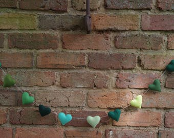 Soft Multi Green Heart Garland/Banner With 10 Small Pure Wool Felt Hearts