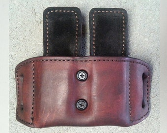 Double Mag Pouch Black Suede Lined