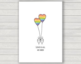 Rainbow Valentines Card, Gay Rainbow Balloon ladies Valentines greetings card