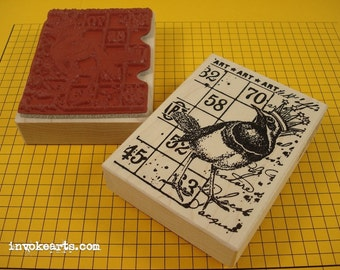Bird Crown Collage ATC Stamp / Invoke Arts Collage Rubber Stamps