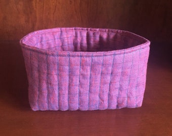 Pink Quilted Nesting Basket - SMALL