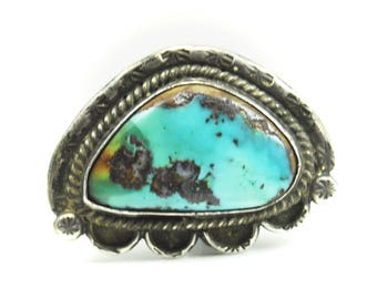 Beautiful Sterling Silver Turquoise Triangular Rain Cloud Ring 35mm Size 5.25