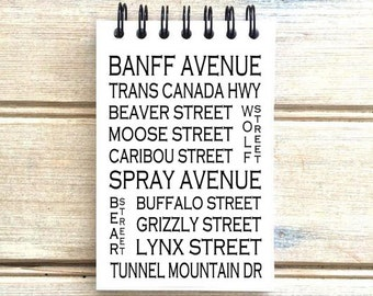 Banff Alberta - Love This Place - Street Name Notebook - Notepad Journal Custom Gift - Canada Busroll