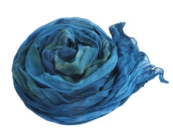 Blue boho scarf, trending now, turquoise silk scarf, teal scarf, scarf blue bohemian, fall boho scarf, scarf for wife, girlfriend scarf