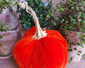"""9.5"""" Wide Silk Velvet Pumpkin with a real Pumpkin Stem - #1715"""