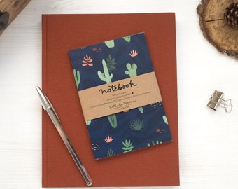 Cactus lined notebook, dark lined journal, cactus notebook, ruled notebook, small size notebook, cactus stationery, cactus lover gift