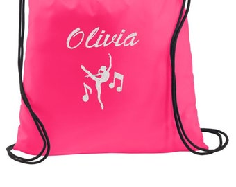 Dance Bag, Dance Drawstring Backpack, Drawstring Bags, Cinch Bags, Personalized Gym Bags, Personalized Dance Bags, Personalized Gifts