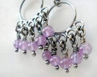 Amethyst Sterling Silver Earrings. Dangling Oxidized Chandelier. Purple Stone. -Lila-