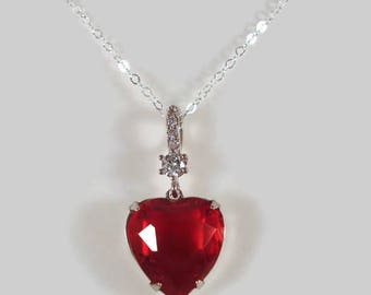 Red Heart Necklace Rhinestone Love Jewelry Valentine's Day Gift For Her