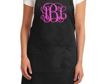 Personalized Monogrammed Apron, monogram initials, house warming, bridal shower Married name apron gift
