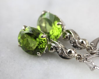 Apple Green Peridot and Diamond Drop Earrings  NX2LVT-R