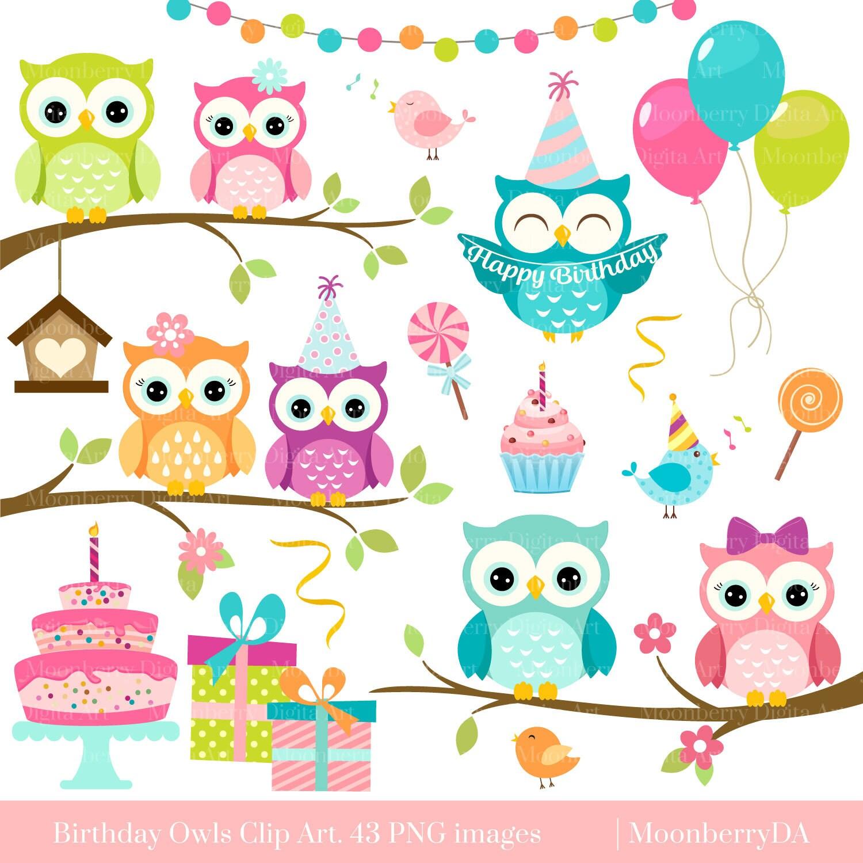 Owls Clipart \'BIRTHDAY OWLS\' Clip Art. Digital Owls
