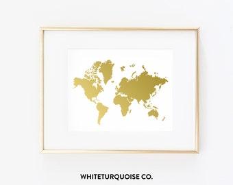 Wanderlust World Map in Gold Foil Print 8x10 - Inspirational, Wanderlust, Office, Desk, Print, Travel