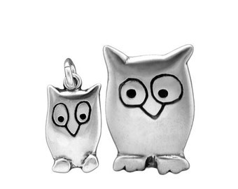 Mother and Daughter Night Owl Necklace Set - Two Sterling Silver Owl Pendants
