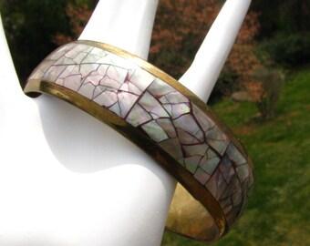 Abalone tuile de mosaïque Bangle Bracelet Vintage