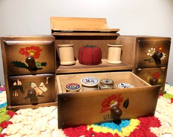 50s Vintage Wooden Sewing Box Embroidery Box Cross Stitch Midcentury Decor 40s Sewing Box 50s Box Vintage Sewing Retro Decor Vintage Storage