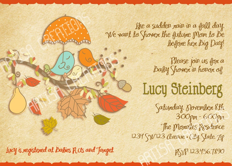 Fall birds baby shower invitation fall baby shower invite zoom filmwisefo
