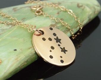 14k Rose Gold Filled Virgo Necklace, Virgo Necklace, Rose Gold, Constellation, Virgo Jewelry, Zodiac Pendant, Rose Gold Virgo Pendant
