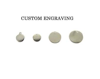 Custom Rhodium Plated Engraving Circle Charms