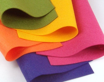 5 Colors Felt Set - October - 20cm x 20cm per sheet