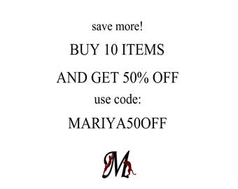 DISCOUNT COUPON: Buy 10 or more items and Save 50% ! Quantity Discount