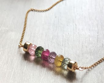 Toirmine necklace/ multicolour tourmaline beads gold filled necklace/ October birthstone/ October gift