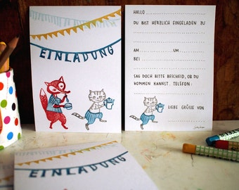 8 Invitation cards - Fox Tea - 100% ECO