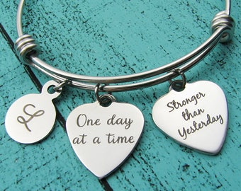 one day at a time bracelet, survivor gift, strong women, addiction recovery gift, strength jewelry, na aa sobriety, mental health awareness
