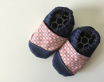 Navy & Floral Toms Inspired Soft Sole Baby Shoe