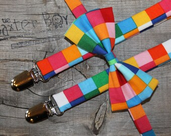 Ready-to-Ship --- SIZE MEDIUM Rainbow Squares bow tie and suspender set for little boys - photo prop, wedding, ring bearer