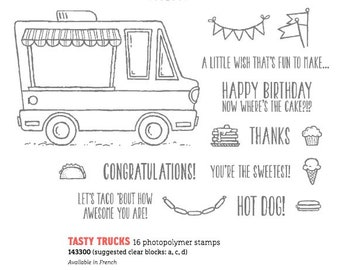 Stampin Up Tasty Truck photopolymer, clear stamps